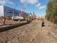 Шпунтовые работы при устройстве очистных сооружений на Волхонском шоссе